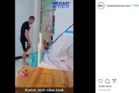 Video viral diduga seorang ayah menyiksa anaknya dengan cara sadis. (Istimewa/Facebook)