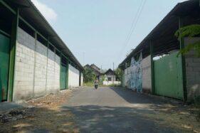 Warga melintasi jalan di antara dua gudang yang pernah dipakai untuk ternak rangrang di Dukuh Kroyo, Desa Taraman, Sidoharjo, Sragen, Senin (10/8/2020). (Solopos/Moh Khodiq Duhri)