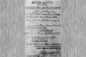 Naskah proklamasi berdirinya Negara Islam Indonesia. (Wikipedia.org)