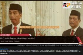 Screenshot video Jokowi serahkan jabatan Presiden ke Prabowo channel Rahasia Politik. (Istimewa/Youtube)