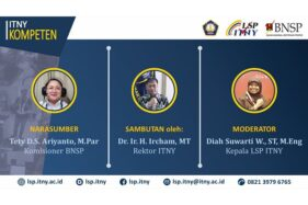 Narasumber webinar Peluang Dan Tantangan Sertifikasi Profesi Bagi Lulusan Perguruan Tinggi Tety D.S. Ariyanto, Rektor ITNY Dr. H. Ircham, dan moderator Diah Suwarti. (Istimewa)