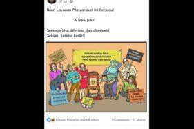 Salah satu ilustrasi karya Dosen FSRD UNS Solo, Andi Setiawan, yang menggambarkan fenomena warga menanggapi Pilkada Solo. (Istimewa/Facebook Andi Setiawan)
