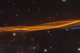 Potret Supernova remnant atau sisa supernova yang menciptakan gelombang yang membentang di area 36 kali Bulan, Jumat (11/9/2020). (Thesun.co.uk)