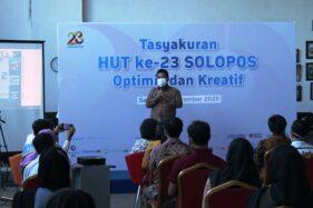 Presiden Komisaris PT. Aksara Solopos Hariyadi Sukamdani memberikan sambutan pada Hari Ulang Tahun (HUT) ke-23, Solopos, Sabtu (19/9/2020)