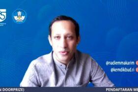 Tangkapan layar Mendikbud Nadiem Makarim. (Antara-Indriani)