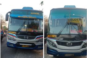 Dua bus yang terlibat kecelakaan di Jl. Raya Solo-Sragen di wilayah Kebakkramat, Karanganyar, Selasa (22/9/2020). (Istimewa/Dok. Satlantas Polres Karanganyar)