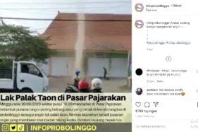 Angin lak palak taon alias angin puting beliung di Pasar Pajarakan, Desa Sukokerto, Kecamatan Pajarakan, Kabupaten Probolinggo, Jawa Timur, Minggu (21/9/2020). (Instagram-@infoprobolinggo)