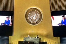 Presiden Joko Widodo berpidato pada sesi debat umum ke-75 Sidang Majelis Umum Perserikatan Bangsa-Bangsa (PBB) di New York, Amerika Serikat, Rabu (23/9/2020). (Antara-Kementerian Luar Negeri RI)