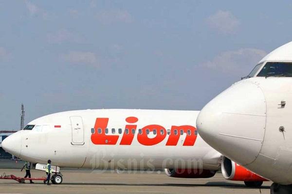 Ilustrasi. pesawat milik maskapai Lion Air. (Bisnis-Eusebio Chrysnamurti)