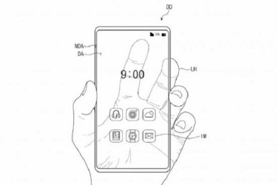 Ilustrasi dokumen paten layar smartphone transparan milik Samsung. (Istimewa)