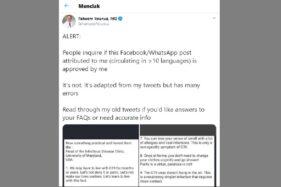 Tangkapan layar keterangan Faheem Younus soal pesan yang mencatut namanya beredar di Facebook dan Whatsapp. (Istimewa/Twitter)