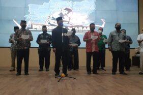 Perwakilan 14 perguruan silat se-Kota Madiun menyampaikan ikrar damai di gedung GCIO Dinas Kominfo setempat, Kamis (24/9/2020). (Abdul Jalil/Madiunpos.com)