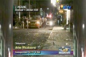 Tayangan berita SCTV yang menyiarkan langsung peristiwa Bom Bali 2005, menggambarkan pecahan kaca di pinggir jalan yang berserakan dekat lokasi pengeboman. (Wikimedia.org)