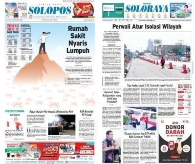 Surat kabar Solopos Today edisi Kamis (9/9/2020) mengulas sebuah rumah sakit yang nyaris lumpuh akibat pandemi Covid-19.
