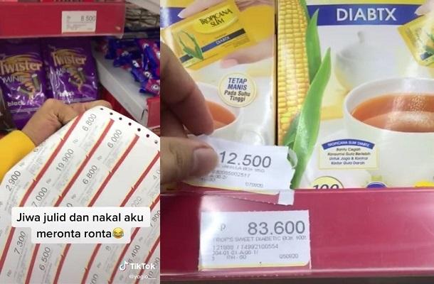 Tangkapan Layar tiktok milik pembeli ganti harga label Alfamart (Istimewa/Tiktok/Yogio__)