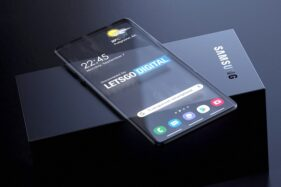 Konsep smartphone layar transparan Samsung visualisasi dari Let's Go Digital. (en.letsgodigital.org)