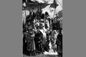 Ilustrasi karya François Guizot, 1883, menggambarkan Salahuddin Ayyubi dan orang Kristen di Yerusalem. (Wikimedia.org)
