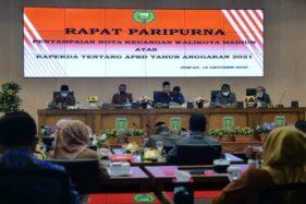 Rapat Paripurna Penyampaian Nota Keuangan Wali Kota Madiun atas Raperda tentang APBD tahun 2021 di DPRD Kota Madiun, Jumat (16/10/2020). (Istimewa/Pemkot Madiun)
