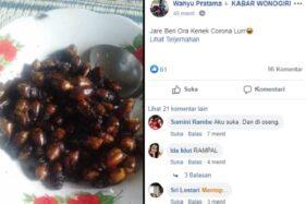 Tangkapan layar hoaks makan kumbang bisa cegah Corona. (Facebook)