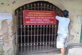 Pasar Desa Nepen, Kecamatan Teras, Kabupaten Boyolali, ditutup sementara selama tiga hari ke depan, Sabtu (31/10/2020). (Solopos/Bayu Jatmiko Adi)