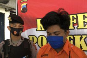Bhri Dharma, pemuda Sumatra yang ditangkap polisi karena menganiaya sopir taksi online dengan maksud merampas mobilnya di Banjarsari, Solo, belum lama ini. (Solopos/Ichsan Kholif Rahman)