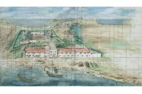 Lukisan Benteng Zeelandia atau Benteng Anping milik VOC di Tainan, Taiwan, dilukis sekitar tahun 1635, Biro Arsip Nasional, Den Haag. (Wikipedia.org)