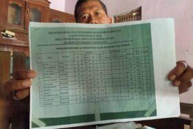 Jaswadi menunjukkan pengumuman hasil seleksi perdes yang menempatkan namanya di urutan pertama untuk jabatan sekretaris desa. Foto diambil di rumahnya di Dukuh Jengkilung, Desa Pendem, Sumberlawang, Sragen, Kamis (15/10/2020). (Solopos.com/Moh. Khodiq Duhri)