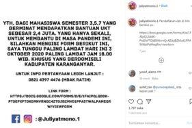 Bupati Juliyatmono Bagi Bantuan UKT Rp2,4 Juta untuk Mahasiswa Karanganyar, Sudah Daftar?