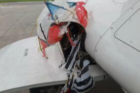 Layang-layang  tersangkut di roda Pesawat Citilink yang mendarat di Bandara Adisutjipto Yogyakarta, Jumat (23/10/2020). (Antara/Bandara Adisutjipto)