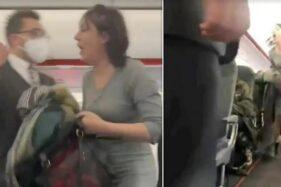 Wanita asal Skotlandia yang diusir dari pesawat EasyJet yang akan lepas landas dari Belfast, Irlandia Utara ke Edinburgh, Skotlandia pada Minggu (18/10/2020). (Daily Mail)