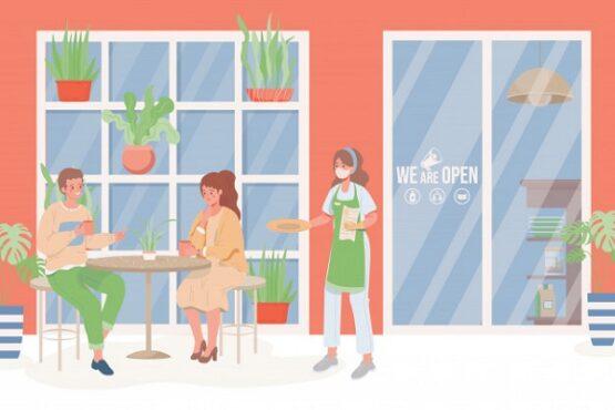Ilustrasi pelayanan di restoran selama pandemi Covid-19. (Freepik)