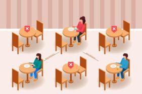 Ilustrasi pengaturan jarak di tempat makan untuk menghindari penyebaran COvid-19. (Freepik)