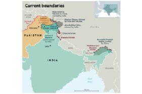Peta yang menunjukkan wilayah dan perbatasan yang disengketakan antara Tiongkok dan India di sepanjang perbatasan Tiongkok-India. (Wikipedia.org)