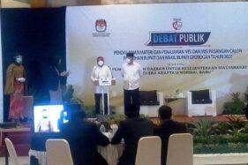 Debat Publik Pilkada Grobogan penajaman visi misi paslon Sri Sumarni dan Bambang Pujiyanto, yang diselenggarakan KPU Grobogan, Rabu (25/11/2020). (Solopos.com/Arif Fajar Setiadi)