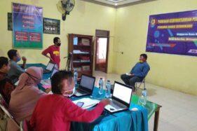 Peserta mempresentasikan rancangan/pengembangan usaha di hadapan juri Lomba Program Kewirausahaan Pemuda Desa Doho di Kantor Desa Doho, Girimarto, Wonogiri, Rabu (25/11/2020) lalu. (Istimewa/Unggul Wicaksono)