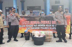 Hari Jadi Brimob, Polres Klaten Serahkan Bantuan untuk Pengungsi Merapi