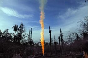 Ilustrasi semburan gas alam. (Antara-Rahmad)