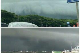 Awan Bak Ombak Tsunami Viral & Hebohkan Makassar