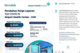 Tarif Tes Rapid Antigen di Bandara Soekarno Hatta Jakarta Turun Lho! Segini Biayanya