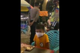 Tangkapan video bocah pake tisu saat razia masker. (Instagram/ info.biasa)
