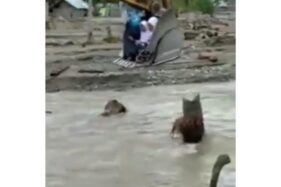 Tangkapan layar video pelajar menyebrangi sungai dengan mesin eksavator (Instagram/manaberita)