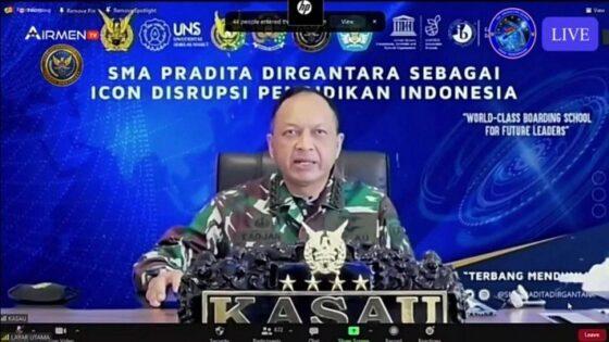 Kepala Staf Angkatan Udara (Kasau) Marsekal TNI Fadjar Prasetyo, saat Talk Show dan Media Gathering SMA Pradita Dirgantara di Halim Perdanakusuma, Jakarta Timur, Kamis (14/1/2021). (Istimewa)