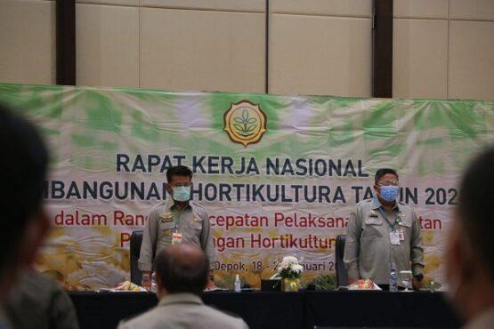 Menteri Pertanian Syahrul Yasin Limpo (kiri) menghadiri Rakernas Pembangunan Hortikultura 2021, Senin (18/1/2021) (Solopos.com-Kementan)