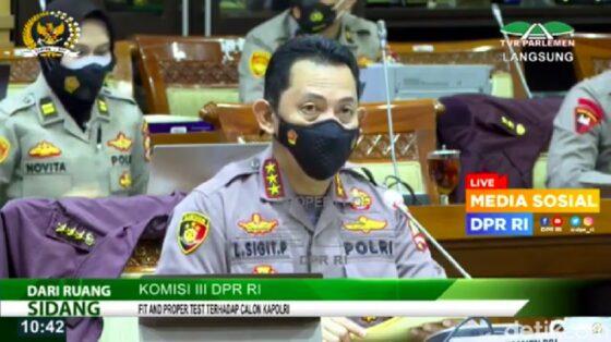 Komjen Pol Listyo Sigit Prabowo ikut uji kepatutan dan kelayakan di Komisi III DPR, Rabu (20/1/2021). (detik.com)