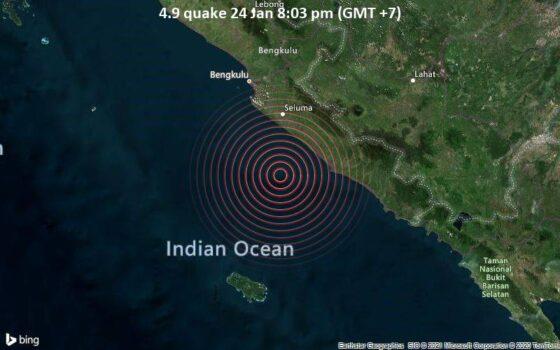 Pusat gempa Bengkulu. (Volcanodiscovery.com)