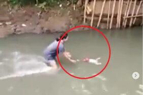 Kebangetan, Asik Bermain Gawai, Ayah di Jakarta Tak Tahu Anaknya Hanyut ke Sungai