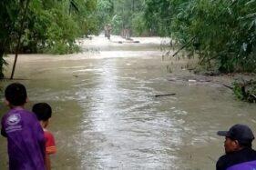 Sungai di Juwok Sukodono Sragen Meluap, 8 Keluarga Mengungsi