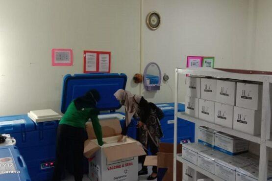Petugas Dinkes Kabupaten Karanganyar menata vaksin Covid-19 ke dalam kotak khusus di ruang penyimpanan vaksin di kompleks Kantor Dinkes Kabupaten Karanganyar, Sabtu (23/1/2021). (Solopos.com/Sri Sumi Handayani)