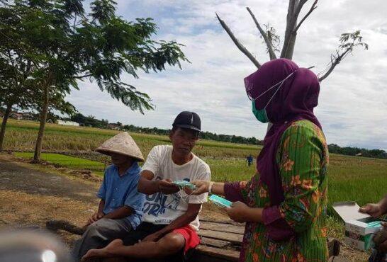 Kepala DPKPP Klaten, Widiyanti, menyerahkan masker kepada petani di Kecamatan Klaten Selatan, Kamis (14/1/2021). (Istimewa-DPKPP)