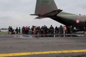 Diangkut Hercules, Puluhan Penyintas Gempa Mamuju Pulang Ke Soloraya